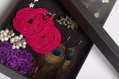 Boucles d'oreille et anneaux du ` s de femmes dans une boîte spéciale pour le stockage Une collection de bijoux pour différentes  Photo stock