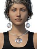 Boucles d'oreille et collier sur une femme Images stock