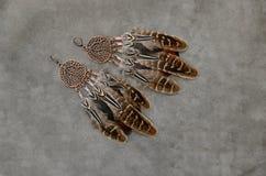 Boucles d'oreille naturelles de plumes de couleurs Photos libres de droits