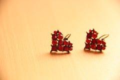 Boucles d'oreille rouges de rubis de coeur Photographie stock libre de droits