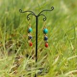 Boucles d'oreille sur le support sur l'herbe fraîche verte Image libre de droits
