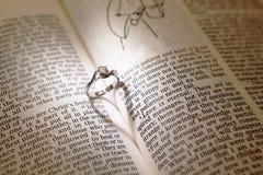 Boucles de diamant de mariage sur une bible Photos stock