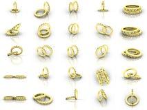 Boucles de mariage d'or de vapeur Photos stock