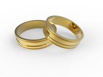 Boucles de mariage d'or et argenté Photographie stock libre de droits