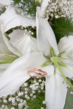 Boucles de mariage d'or sur des couleurs Photos stock