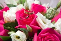 Boucles de mariage d'or sur des couleurs Photographie stock