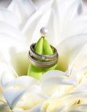 Boucles de mariage dans le bouquet Photo libre de droits
