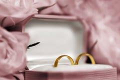 Boucles de mariage dans les roses Photos libres de droits