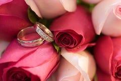 Boucles de mariage dans les roses Images stock