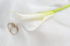 Boucles de mariage et fleur blanche sur le blanc photo libre de droits