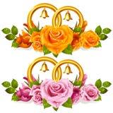 Boucles de mariage et groupe de roses Photographie stock libre de droits