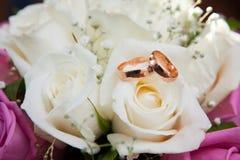Boucles de mariage neuves d'or sur des couleurs Photographie stock libre de droits