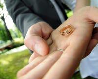 Boucles de mariage sur la main de jeune mariée Images libres de droits