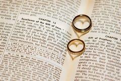 Boucles de mariage sur une bible Image libre de droits