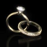 Boucles de noces de diamant - chemin de découpage Image libre de droits