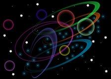 Boucles et corps ronds de l'espace illustration de vecteur
