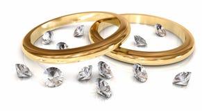 Boucles et diamants de mariages sur le blanc Image libre de droits