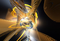 Boucles et fils oranges dans l'espace (abstrait) 02 Photos stock