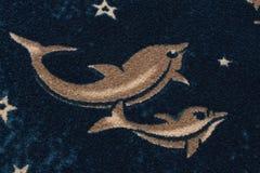 Bouclestof met tekening van dolfijnen Royalty-vrije Stock Afbeeldingen