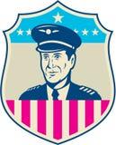 Bouclier américain de drapeau d'Aviator Etats-Unis de pilote de ligne aérienne rétro Image libre de droits