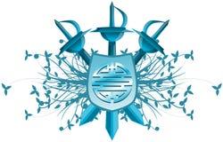 Bouclier avec le symbole du double bonheur d'isolement Image libre de droits