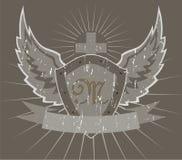 Bouclier avec les ailes et la croix illustration stock