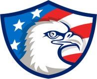 Bouclier chauve de drapeau d'Eagle Head Etats-Unis rétro Photos stock