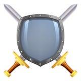Bouclier croisé d'épées illustration de vecteur