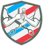 Bouclier de Barber Hand Comb Brush Scissors rétro illustration libre de droits