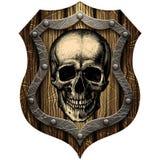 Bouclier de chêne avec des goujons de crâne et en métal Photographie stock libre de droits
