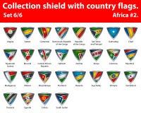 Bouclier de collection avec des drapeaux de pays Partie de 6 Image libre de droits