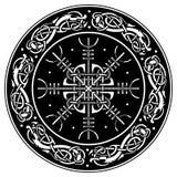 Bouclier de Viking décoré d'un modèle scandinave des dragons et d'Aegishjalmur, barre de barre de crainte d'islandais de terreur illustration libre de droits