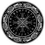 Bouclier de Viking, décoré d'un modèle scandinave des dragons et de l'Aegishjalmur, barre de la barre de crainte de la terreur, i illustration de vecteur