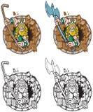Bouclier de Viking Mascot Breaking Through Wood illustration libre de droits