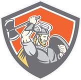 Bouclier de Viking Raider Barbarian Warrior Axe Photo stock