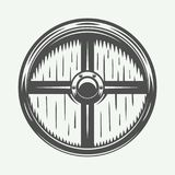 Bouclier de Vikings de vintage Peut être employé comme logo, emblème, insigne Photo libre de droits