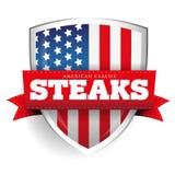 Bouclier de vintage de biftecks avec le drapeau des Etats-Unis Image stock