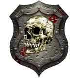 Bouclier en métal avec un crâne humain Photographie stock libre de droits