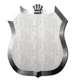Bouclier en métal de signe de couronne Images stock