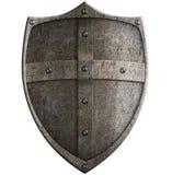 Bouclier en métal du croisé médiéval d'isolement avec le chemin de coupure Photos libres de droits