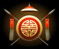 Bouclier et lances asiatiques médiévaux de guerrier Image libre de droits