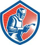 Bouclier latéral de Fabricator Welding Torch de soudeuse rétro illustration stock