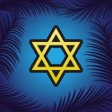 Bouclier Magen David Star Symbole de l'Israël Vecteur Icône d'or W illustration de vecteur