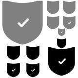 Bouclier noir et gris avec le signe l'ok Image libre de droits