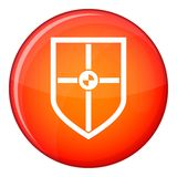 Bouclier pour l'icône de combat, style plat Images stock