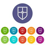 Bouclier pour les icônes réglées de combat Images libres de droits