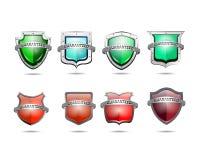 Bouclier protecteur tridimensionnel brillant Logo Icon Images libres de droits