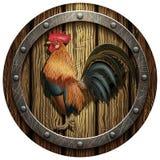 Bouclier rond en bois avec un coq Photo libre de droits