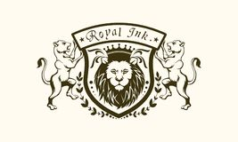 BOUCLIER ROYAL TATOO DE LION D'ENCRE illustration stock