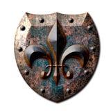 Bouclier rustique Fleur de lis en métal Photos libres de droits